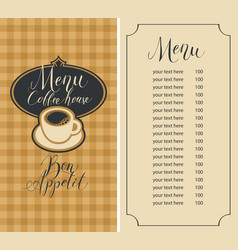 menu for coffee house with cup and price list vector image