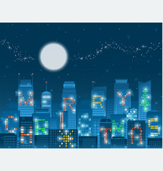 merry christmas alphabet buildings vector image