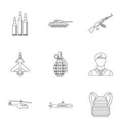 Military defense icons set outline style vector