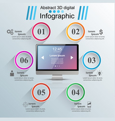 Monitor icon business 3d infographics vector