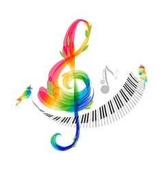 Music design treble clef and piano keyboard vector image