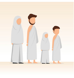 Muslim family wearing ihram for hajj and umrah vector