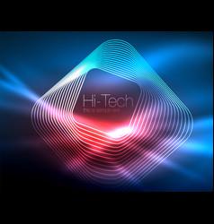 neon glowing outline squares in dark vector image
