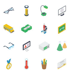 Pack e learning isometric icons vector