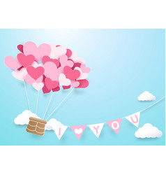 paper art heart shape balloon with garland vector image