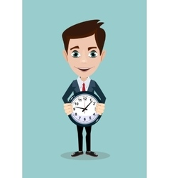 Portrait of young man holding a clock with his vector