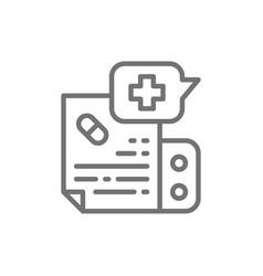 Prescription medication instruction line icon vector