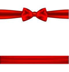 Red ribbon bow horizontal border vector image