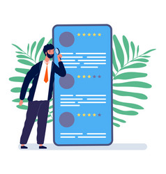 reviews concept man watching online feedback vector image