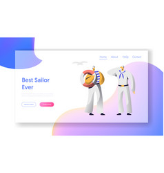sailor characters website landing page nautical vector image