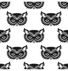 Seamless pattern with black owl head vector image