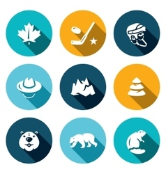 Set canada icons maple leaf hockey vector