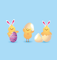 set chick wearing diadem rabbit ears and egg vector image