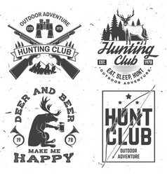 set hunting club badge concept vector image