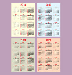 Set of calendar grid for years 2018-2021 vector