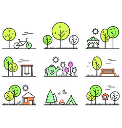 Spring and summer outlines concept icons set vector