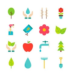 Spring Gardening Flat Objects Set isolated over vector