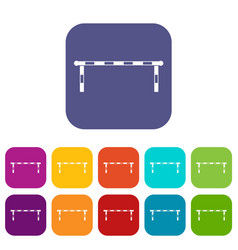 Striped barrier icons set flat vector