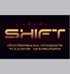 stylish technology gold alphabet uppercase vector image