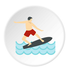 surfer man on surfboard icon circle vector image