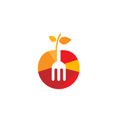 tasty fruit apple fork logo vector image