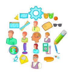 Teacher training icons set cartoon style vector
