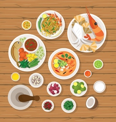 Thai Food and Ingredients Set vector image