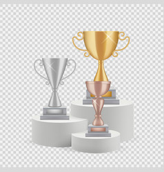 Trophy on podium golden silver and bronze cups vector