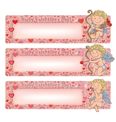 Valentines Day banners with cupid vector image