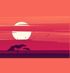vivid sunset over african savanna vector image
