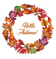 Watercolor autumn wreath vector