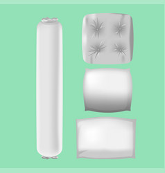 White pillows mock up collection set vector