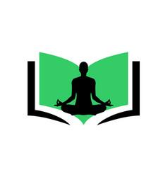 yoga meditation book logo icon concept design vector image