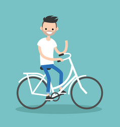 Young bearded guy riding a bike and waving his vector