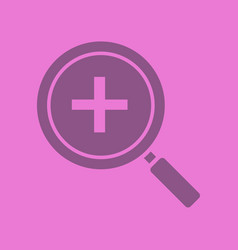 zoom in magnifying glass with plus glyph color vector image