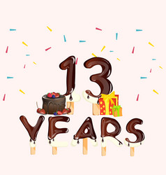 13 years birthday celebration with cake and gift vector image vector image