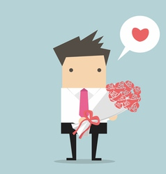 Businessman with a bouquet vector image vector image