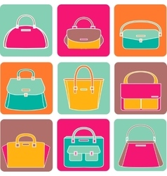 Colorful handbags on white background vector image vector image