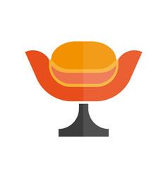 modern stylish orange armchair with black leg vector image vector image
