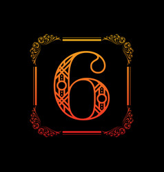 number 6 with ornament vector image