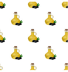 olive oil bottle with cartoon olives icon in vector image