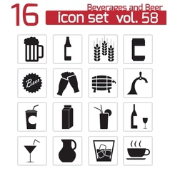 black beer and beverage icons set vector image