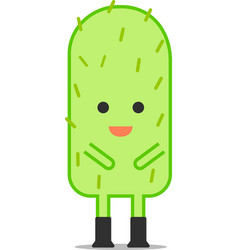 cute cactus character in flat style vector image
