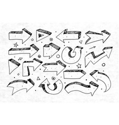 doodle sketch arrows on rice paper background vector image