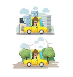 man driver yellow car city eco vector image
