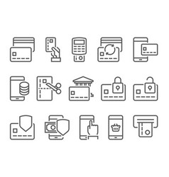 pay on line and mobile banking line icons vector image vector image