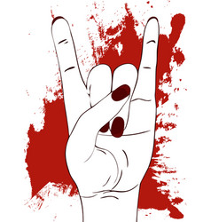 rock hand gesture with red paint stains on white vector image vector image