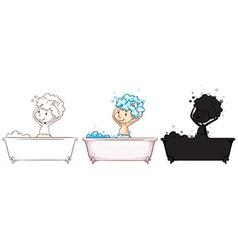Sketches of a boy taking a bath vector image