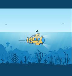 Underwater yellow submarine vector
