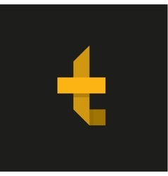 Yellow Letter T in the form of abstraction vector image